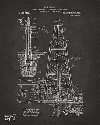 Monocromatic Drawing - 1911 Oil Drilling Rig Patent Artwork - Gray by Nikki Marie Smith