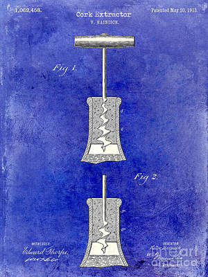 Wine Photograph - 1913 Cork Extractor Patent Drawing 2 Tone Blue by Jon Neidert