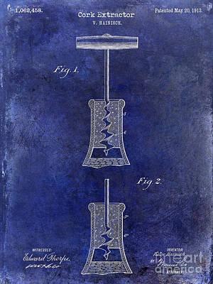 1913 Cork Extractor Patent Drawing Blue Print by Jon Neidert