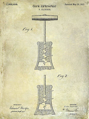 1913 Cork Extractor Patent Drawing  Print by Jon Neidert