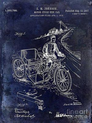 Harley Davidson Photograph - 1913 Motorcycle Side Car Patent Blue by Jon Neidert