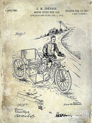 Harley Davidson Photograph - 1913 Motorcycle Side Car Patent by Jon Neidert