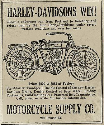Bike Drawing - 1914 Harley Davidson Endurance Run by Bill Cannon