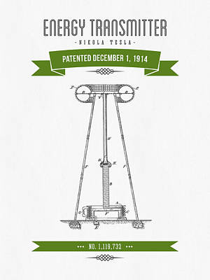 1914 Nikola Tesla Energy Trasmitter Patent Drawing - Retro Green Print by Aged Pixel