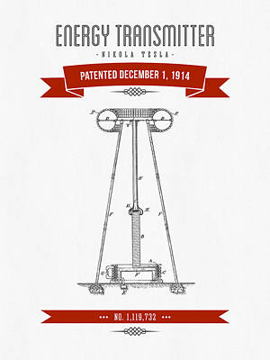 1914 Nikola Tesla Energy Trasmitter Patent Drawing - Retro Red Print by Aged Pixel