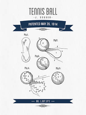 Tennis Mixed Media - 1914 Tennis Ball Patent Drawing - Retro Navy Blue by Aged Pixel
