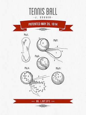 Tennis Mixed Media - 1914 Tennis Ball Patent Drawing - Retro Red by Aged Pixel