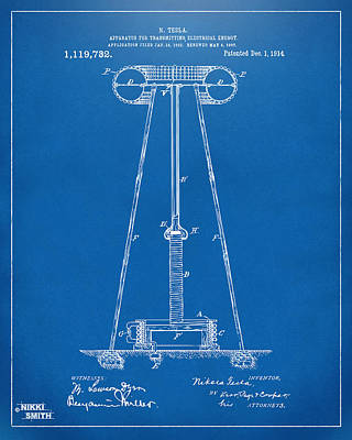 1914 Tesla Transmitter Patent Artwork - Blueprint Print by Nikki Marie Smith