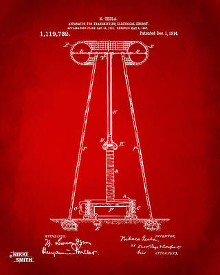 1914 Tesla Transmitter Patent Artwork - Red Print by Nikki Marie Smith