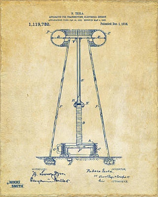 1914 Tesla Transmitter Patent Artwork - Vintage Print by Nikki Marie Smith