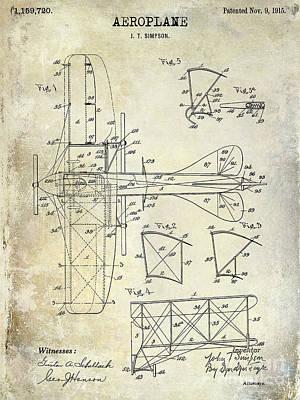 Airliners Photograph - 1915 Aeroplane Patent Drawing by Jon Neidert