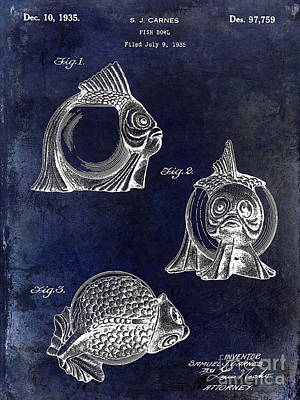 Cape Cod Photograph - 1915 Fish Bowl Patent Drawing Blue by Jon Neidert