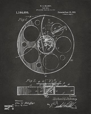 1915 Movie Film Reel Patent Gray Print by Nikki Marie Smith