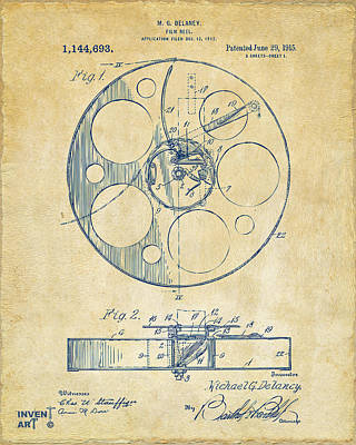 Acting Drawing - 1915 Movie Film Reel Patent Vintage by Nikki Marie Smith