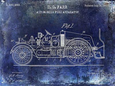 1916 Photograph - 1916 Automobile Fire Apparatus Patent Drawing Blue by Jon Neidert