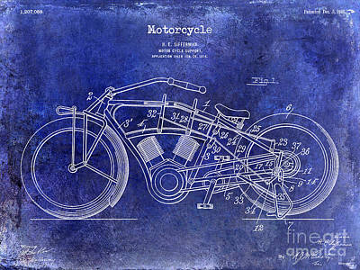 Harley Davidson Photograph - 1916 Motorcycle Patent Drawing Blue by Jon Neidert