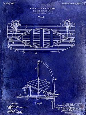 1917 Davit Patent Drawing Blue Print by Jon Neidert