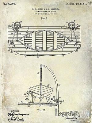 1917 Davit Patent Drawing  Print by Jon Neidert