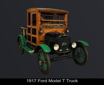 Ford Digital Art - 1917 Ford Model T Truck by Chris Flees