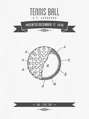 Tennis Mixed Media - 1918 Tennis Racket Patent Drawing - Retro Gray by Aged Pixel