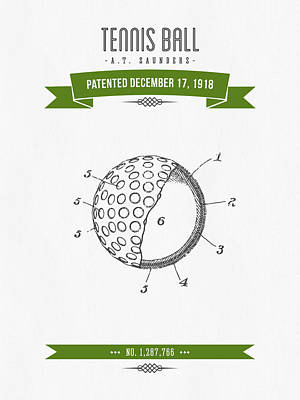Tennis Mixed Media - 1918 Tennis Racket Patent Drawing - Retro Green by Aged Pixel