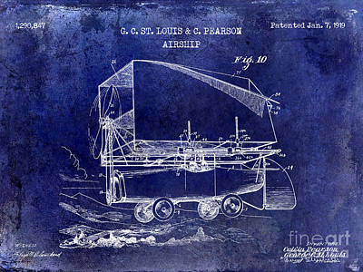 Airliners Drawing - 1919 Airship Patent Drawing Blue by Jon Neidert