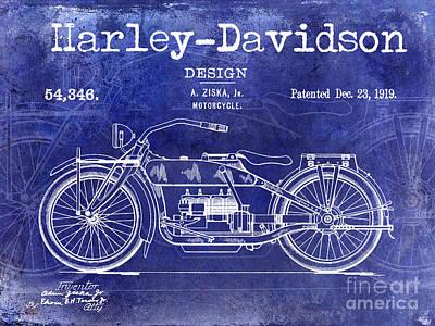 Hog Photograph - 1919 Harley Davidson Patent Drawing Blue by Jon Neidert