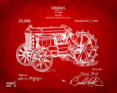 1919 Henry Ford Tractor Patent Red Print by Nikki Marie Smith