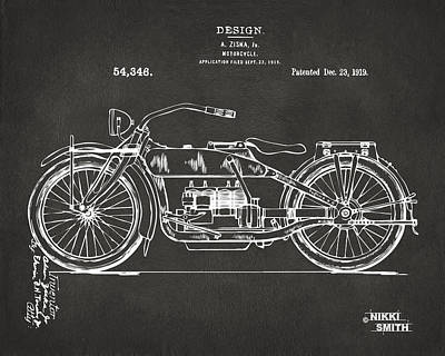 Apparatus Drawing - 1919 Motorcycle Patent Artwork - Gray by Nikki Marie Smith