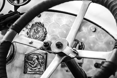 Bugatti Vintage Car Photograph - 1920 Bugatti Type 13 Steering Wheel - Dashboard -1634bw by Jill Reger