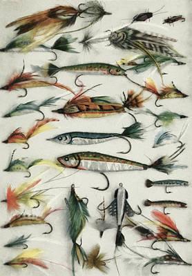 Wet Fly Digital Art - 1920's Fishing Flies by Steve Taylor