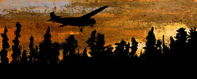 1920's Ford Trimotor Airplane Skims Treetops Print by R Kyllo