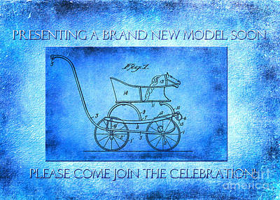 1921 Baby Carriage Aged New Model Blue Print by Lesa Fine