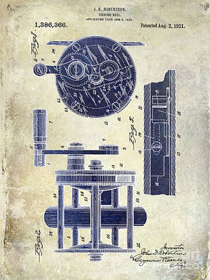 Cape Cod Photograph - 1921 Fishing Reel Patent Drawing 2 Tone by Jon Neidert