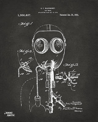Weird Digital Art - 1921 Gas Mask Patent Artwork - Gray by Nikki Marie Smith