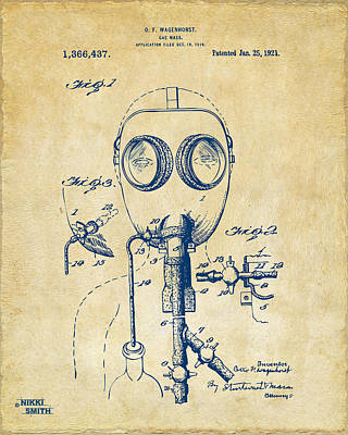 Weird Digital Art - 1921 Gas Mask Patent Artwork - Vintage by Nikki Marie Smith
