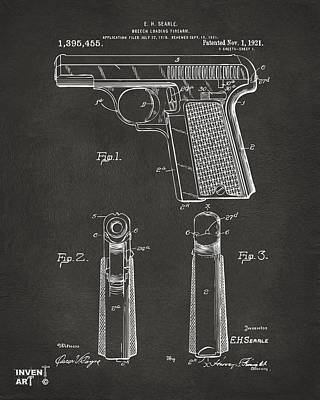 1921 Searle Pistol Patent Artwork - Gray Print by Nikki Marie Smith