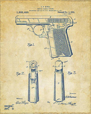 1921 Searle Pistol Patent Artwork - Vintage Print by Nikki Marie Smith