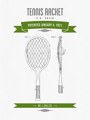 Tennis Mixed Media - 1921 Tennis Racket Patent Drawing - Retro Green by Aged Pixel