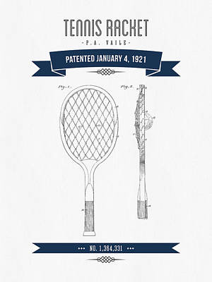 Tennis Mixed Media - 1921 Tennis Racket Patent Drawing - Retro Navy Blue by Aged Pixel