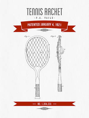 Tennis Mixed Media - 1921 Tennis Racket Patent Drawing - Retro Red by Aged Pixel