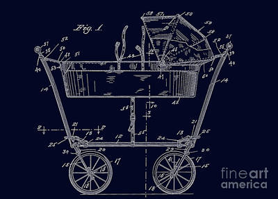 1922 Baby Carriage Patent Art Blueprint Print by Lesa Fine