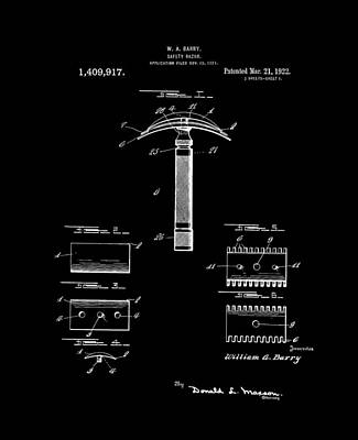 Retro Digital Art - 1922 Safety Razor Barry Bw by Lesa Fine