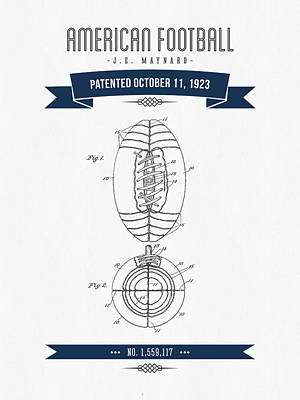 1923 American Football Patent Drawing - Retro Navy Blue Print by Aged Pixel
