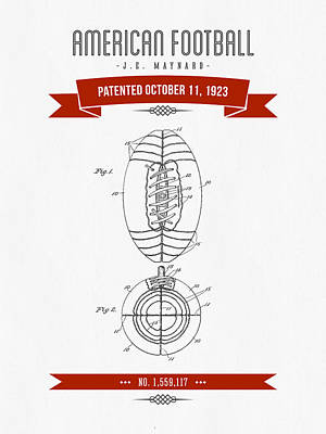 1923 American Football Patent Drawing - Retro Red Print by Aged Pixel