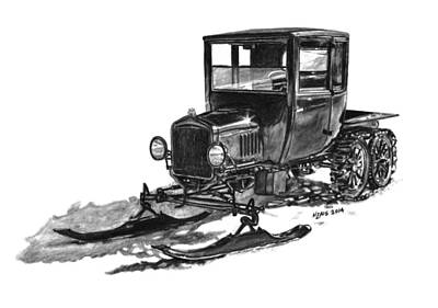 Classic Truck Drawing - 1923 Ford Model T Snowmobile by Nickela Zais