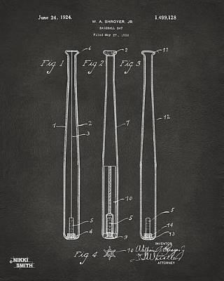 1924 Baseball Bat Patent Artwork - Gray Print by Nikki Marie Smith