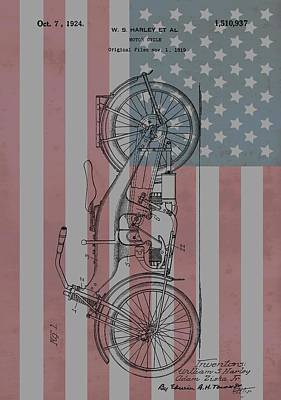 Motorcycle Mixed Media - 1924 Harley Patent American Flag by Dan Sproul