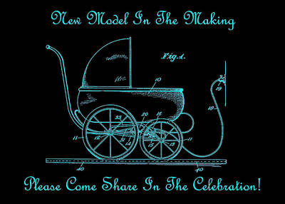 1924 Patent Art Koch Baby Carriage Black Teal Print by Lesa Fine