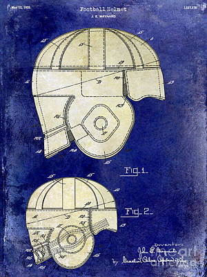 1925 Football Helmet Patent Drawing 2 Tone Blue Print by Jon Neidert